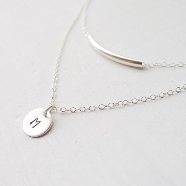 Sterling Silver Tube and Coin Double Layered Necklace Set