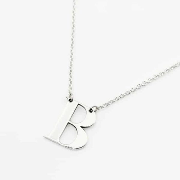 Bold Initial Necklace Durban Silvery