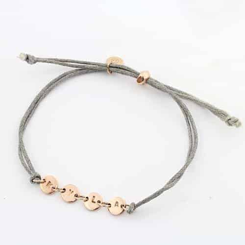 Coin Connector Cord Bracelet Silvery