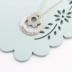 Engraved Flower Cutout Necklace