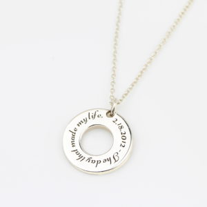 Engraved Sterling Silver Washer Necklace