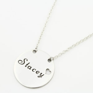 Heart Chain Name Necklace Silvery