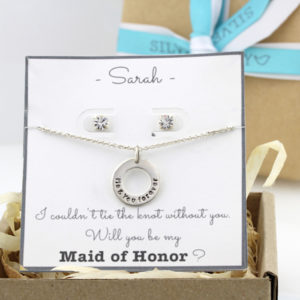 Bridesmaid Package: Handstamped Washer Necklace & Round Crystal Stud Earrings Combo
