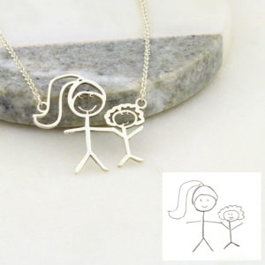 Kids Drawing outline Necklace