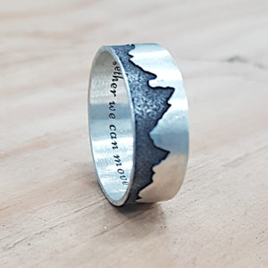Mountain engraved on ring