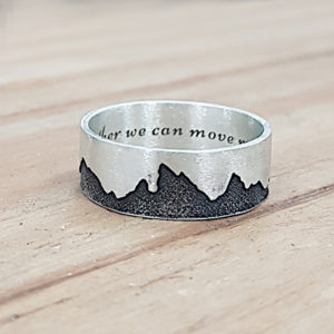 Mountain engraved ring