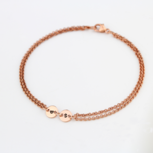 Rose Gold Twin Connector Coin Bracelet