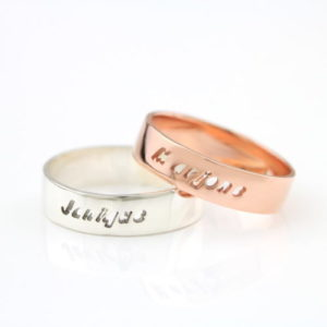 Cutout Name Ring-silver rose gold