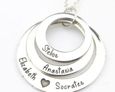 Sterling Silver Engraved Family Necklace
