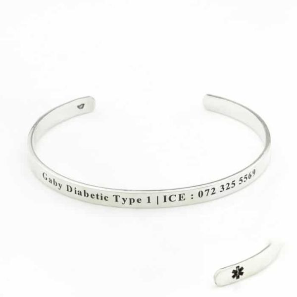 Sterling Silver Medical Cuff bangle