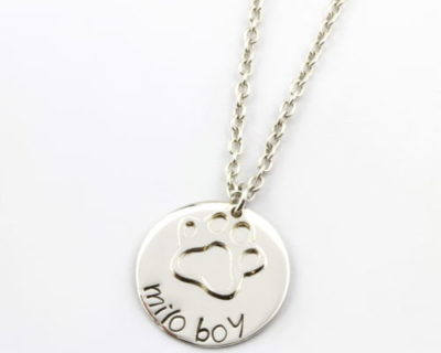 Sterling Silver Paw on Coin Necklace-2