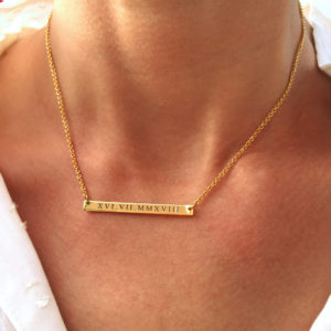 Sterling Silver Skinny Bar Necklace Gold Plated