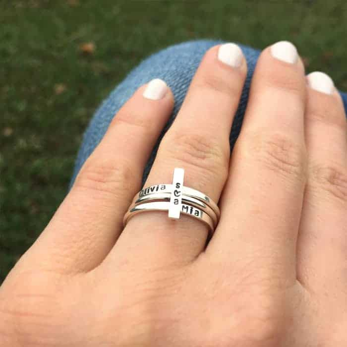Sterling Silvery Vertical Bar-Identity Ring Set-lifestyle 1