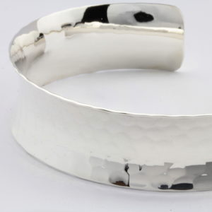 Sterling Silver Hammered Textured Cuff Bangle 2