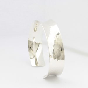 Sterling Silver Hammered Textured Cuff Bangle