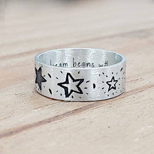 Sterling silver engraved star ring