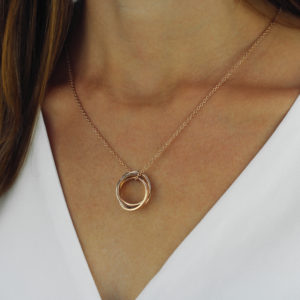 Triple Family Ring Necklace-lifestyle-studio-2