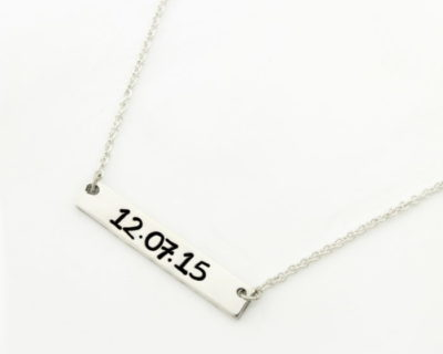 Wide Bar Necklace Silvery Handstamping