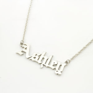 gothic font name necklace silvery
