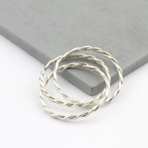Sterling Silver Triple Russian Rope Rings 2