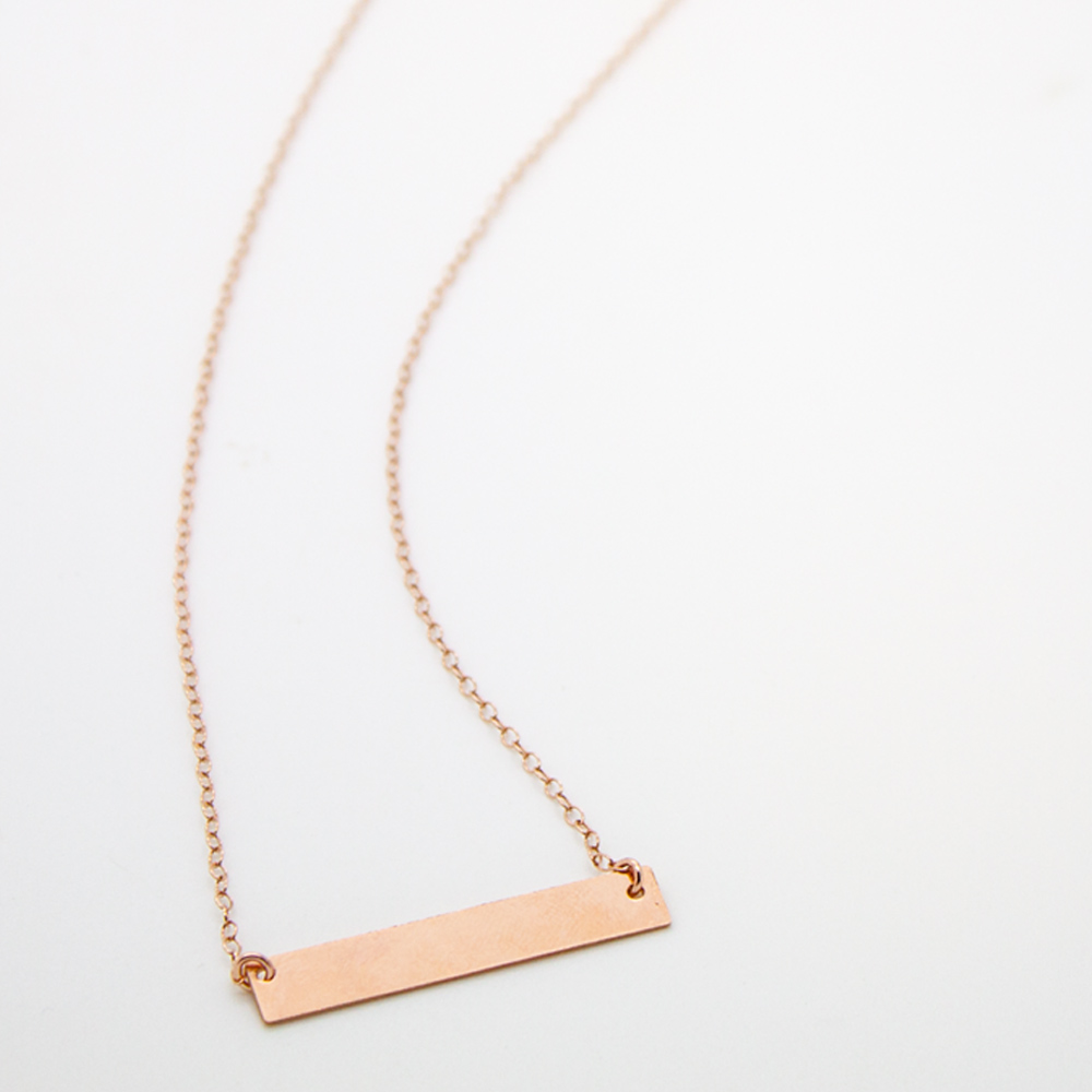 14kt Rose Gold Filled Wide Bar Necklace