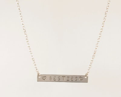 Sterling Silver Wide Bar Necklace 1.8mm Chain