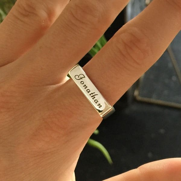 Sterling Silver Engraved Ring Bar