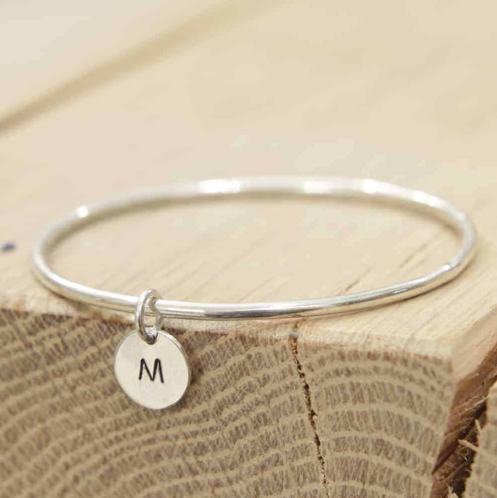 Sterling silver personalised coin pendant bangle buy for The sterling