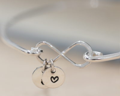 Sterling Silver Infinity Bangle & two coins