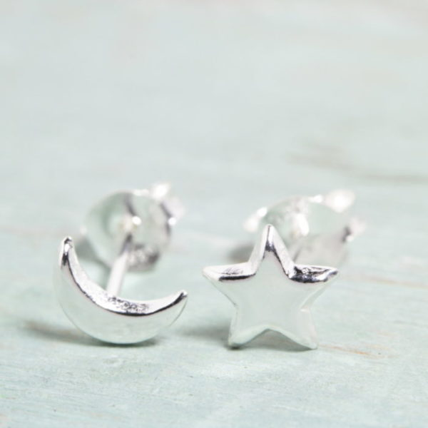 Sterling Silver Moon Star Stud Earrings