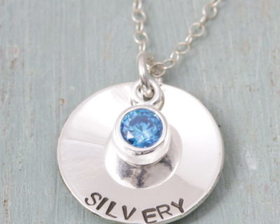 Sterling Silver Personalised Dished Coin & Birthstone