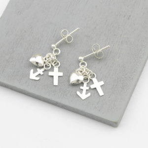 Sterling Silver Anchor, Heart & Cross Stud Earrings