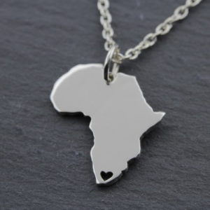 Sterling Silver Africa Heart Shaped Necklace