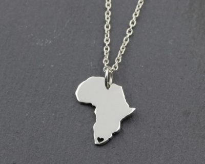 Sterling Silver Africa with heart necklace