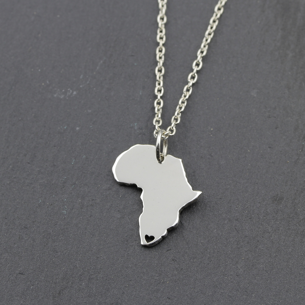 Sterling silver africa heart necklace buy online from silvery sterling silver africa with heart necklace aloadofball Image collections