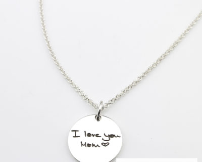 Engraved Handwritten Coin Pendant Necklace