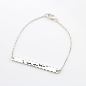 Sterling Silver Engraved Long Bar Bracelet-2