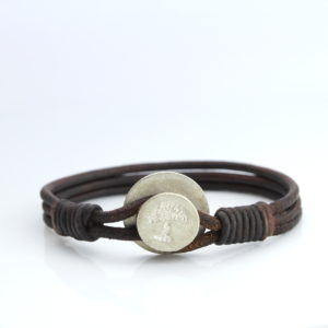 Rustic mens leather bracelet