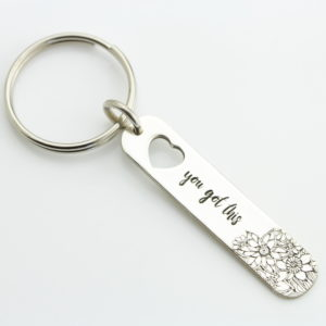 Engraved Flower & Heart Keychain 2