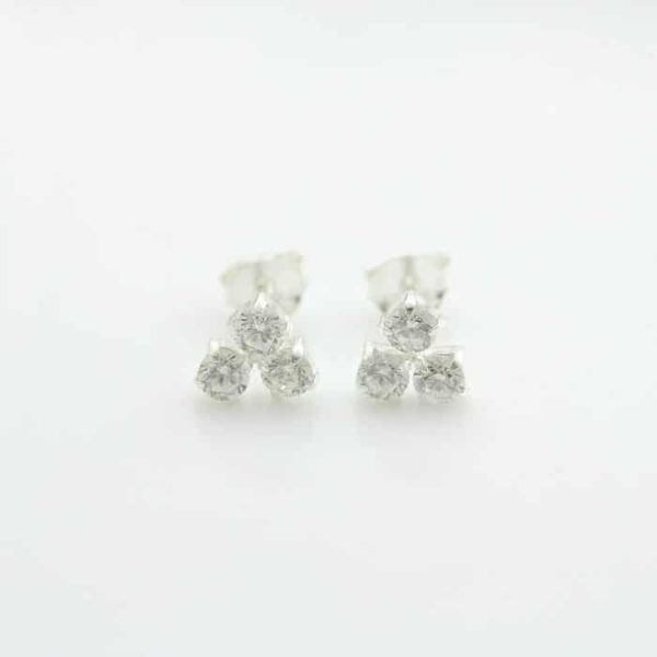 Triple Cubic Zirconia Stud Earrings