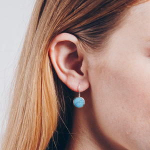 Round stone dangle earrings turquoise