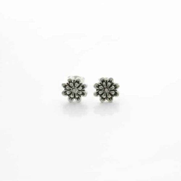 Antiqued Flower Stud Earrings