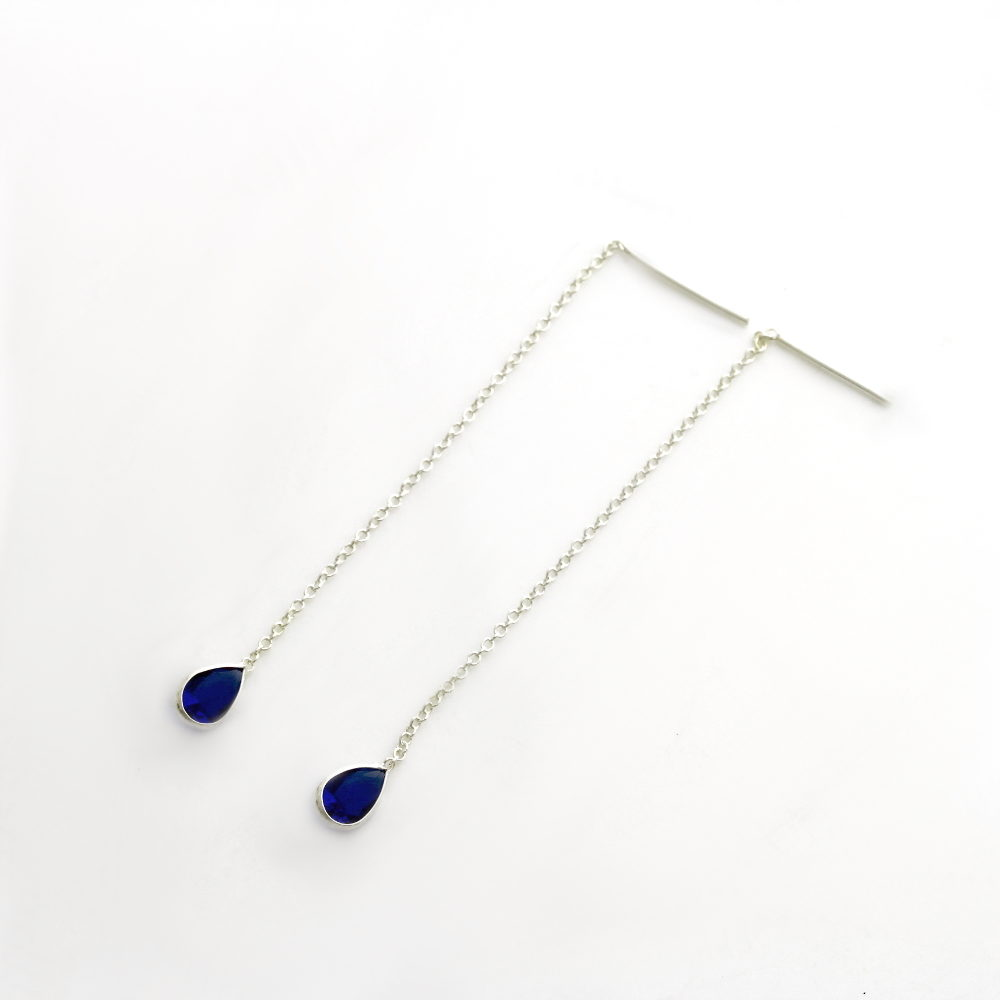 Coloured Tear Drop Threader Earrings dark blue