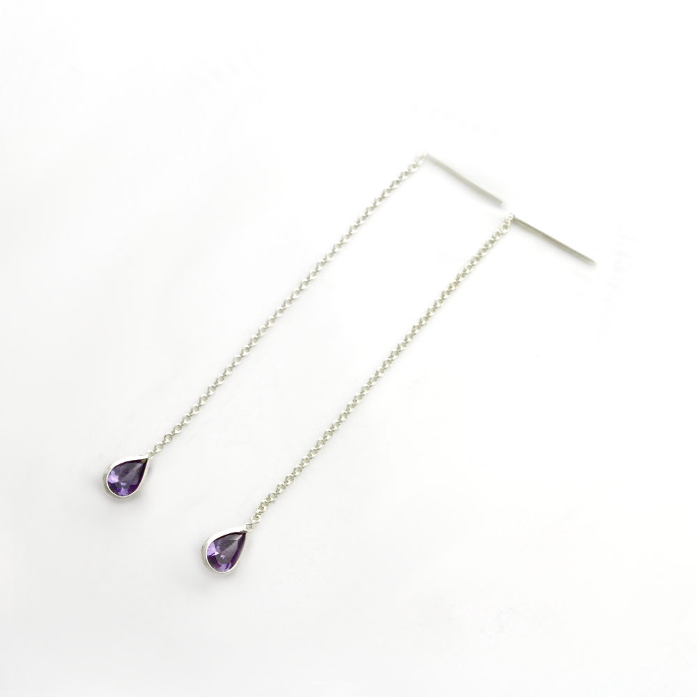 Coloured Tear Drop Threader Earrings purple