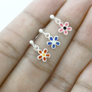 Colourful Daisy Enamel Dangle Earrings