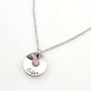 Personalised Dished Coin and Birthstone Bracelet Silvery