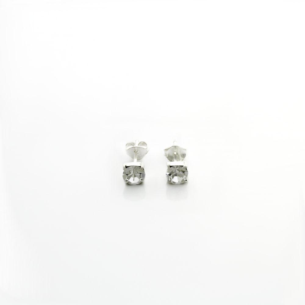 Round Crystal Stud Earrings Clear