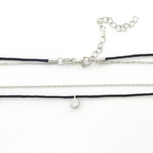 Cubic Zirconia Rope Chain Choker Necklace1