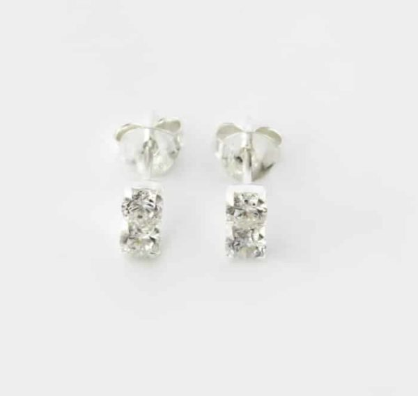 Stacked Cubic Zirconia Stud Earrings