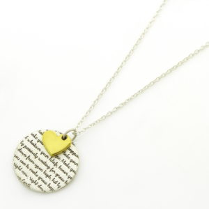 Fine Print Coin & Heart Necklace